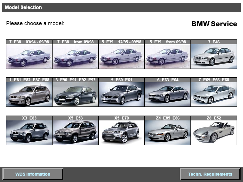 BMW WDS Model Select Screen.