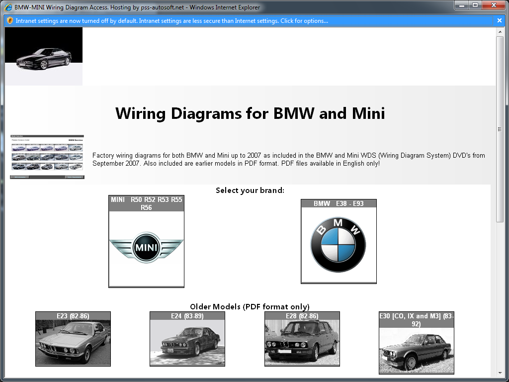 pss-autosoft.net's BMW and Mini Wiring Diagram System (WDS) on